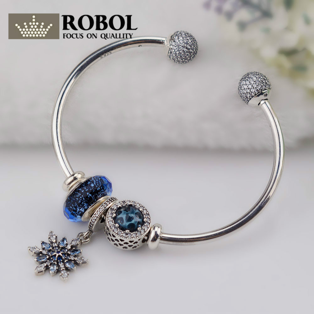 ROBOL Original 100% 925 Sterling Silver Moments 925 Silver Open Bracelet Set To Send A woman Gift Adjustable Bracelet & Bangle
