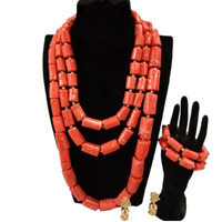4ujewelry Nature Coral Jewelry Necklace Set 3 Layers Edo Traditional African Bridal Jewelry Set Free Shipping Jewellery Dubai