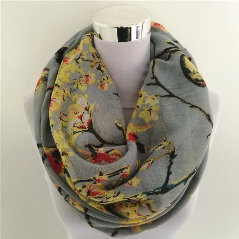 New Magpie Bird Print viscose Match Ipek Esarp loop   Scarves   hot flower infinity   Scarf   spring   Wraps   hot ring   scarf   for women