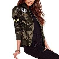 Military Army Green Satin Jacket Women 2018 Badge Appliques Bomber Jacket Coat Autumn Winter Slim Baseball Jacket Coat Outwears