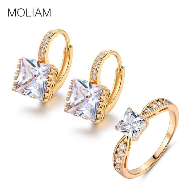 MOLIAM Brand New Jewellery Set of Rings+ Ear ring Gold-Color Ear Rings White Cubic Zirconia Stone Rings Set MLE302e+MLR115
