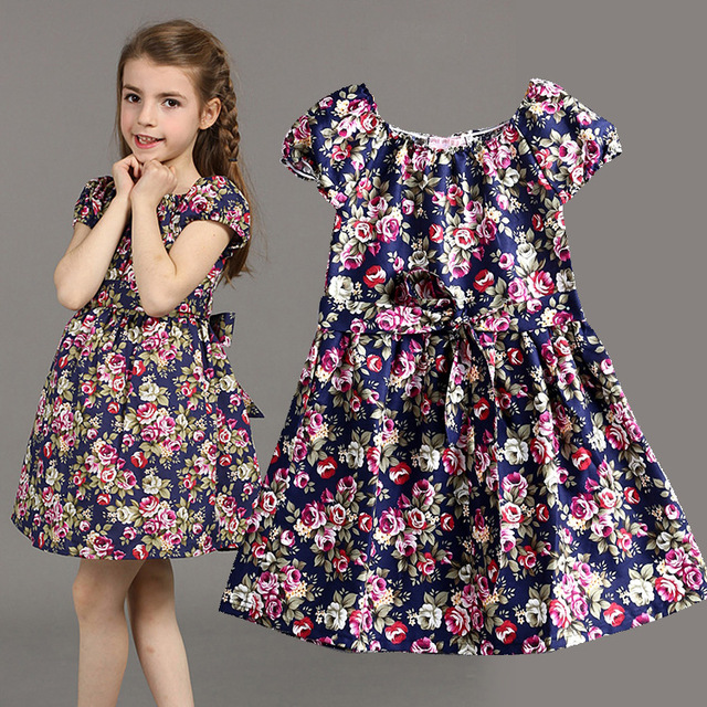 2015 New Summer Style beautiful floral Toddler Baby Girl Dress Kids ...