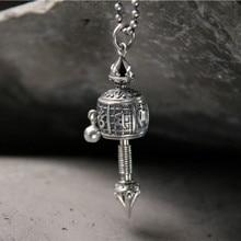 Tibet Buddhism Surangama Mantra Rotatable Necklace Pendants For Sanskrit Amulet Necklace Six Words Wheel Men Jewelry недорого