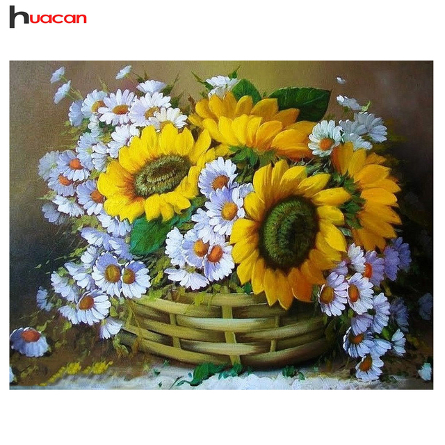 HUACAN,DIY,5D,Flower,Diamond Embroidery Mosaic,Wall Art Painting ...