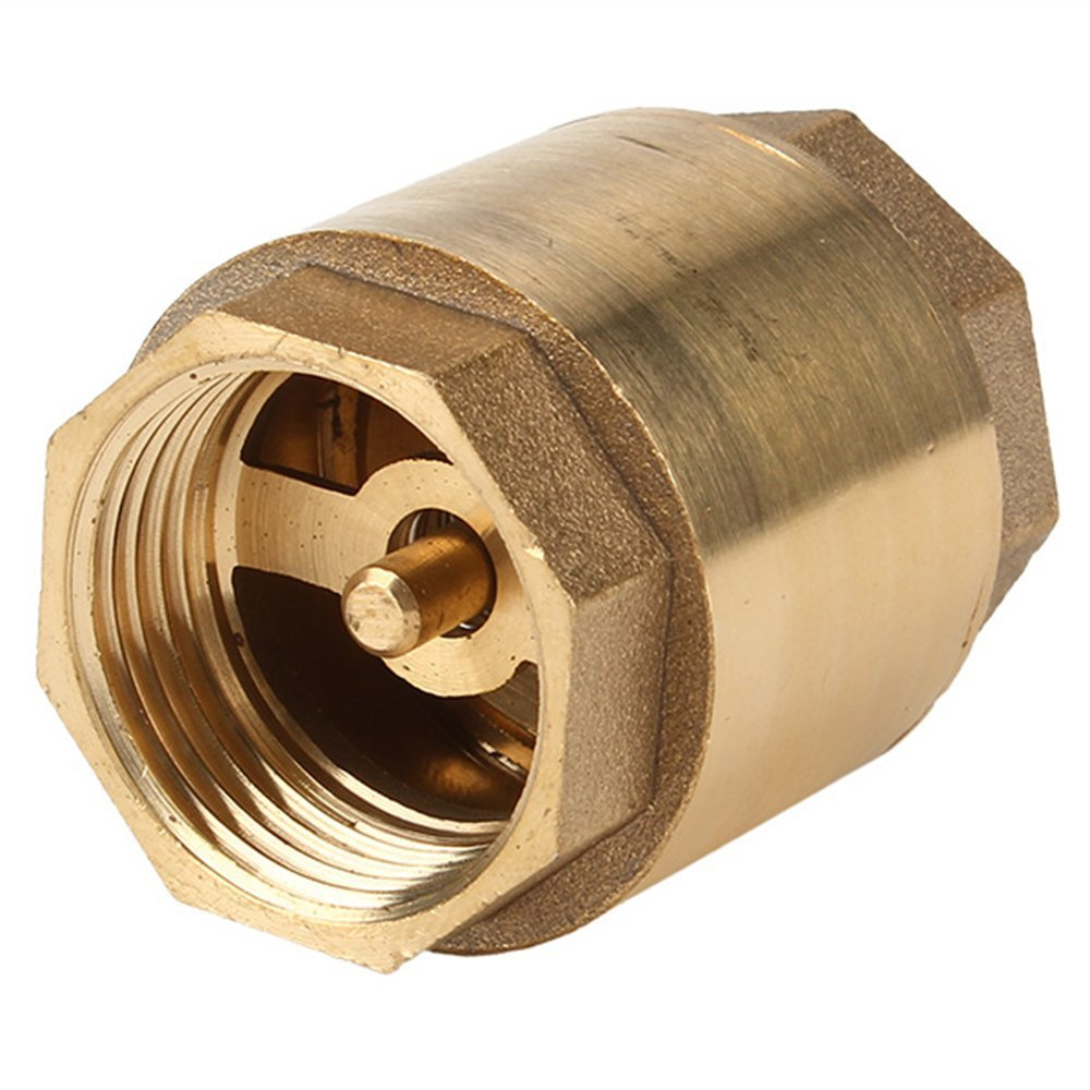 <font><b>3/4</b></font> Inch Thread <font><b>Brass</b></font> In-Line Check <font><b>Valve</b></font> Straight-through Type Golden image