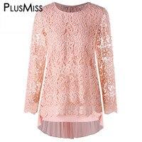 PlusMiss Plus Size 5XL Sexy Pink Pleated Lace Crochet Mini Dress Women Long Sleeve Chiffon Short