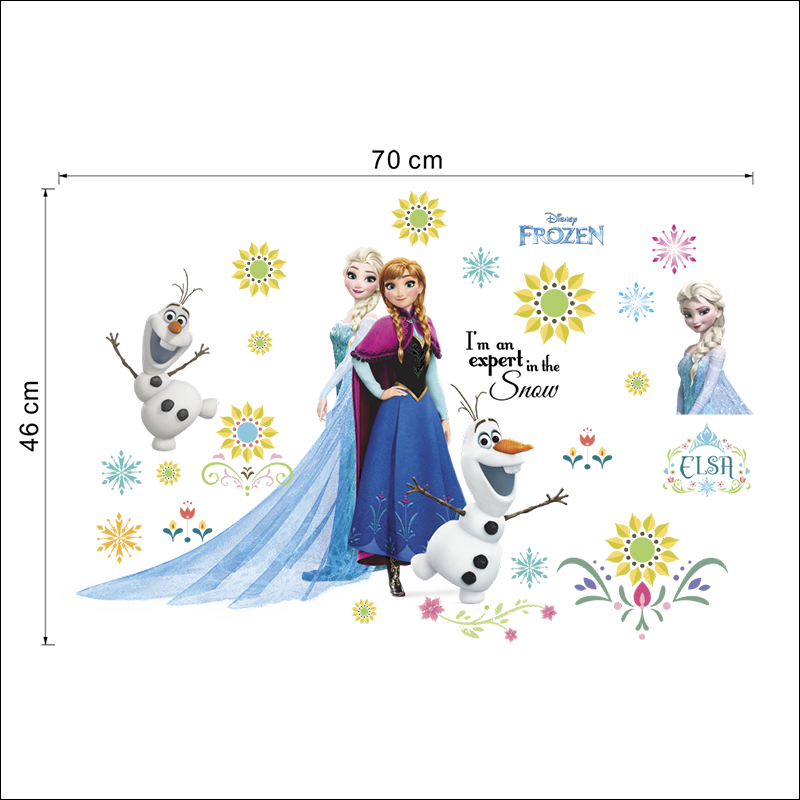 Disney Cartoon Kids DIY Wall Sticker Frozen Princess Anna Aisha Accessories Puzzle Pegatinas Autocollant Enfant Home Decoration in Wall Stickers from Home Garden