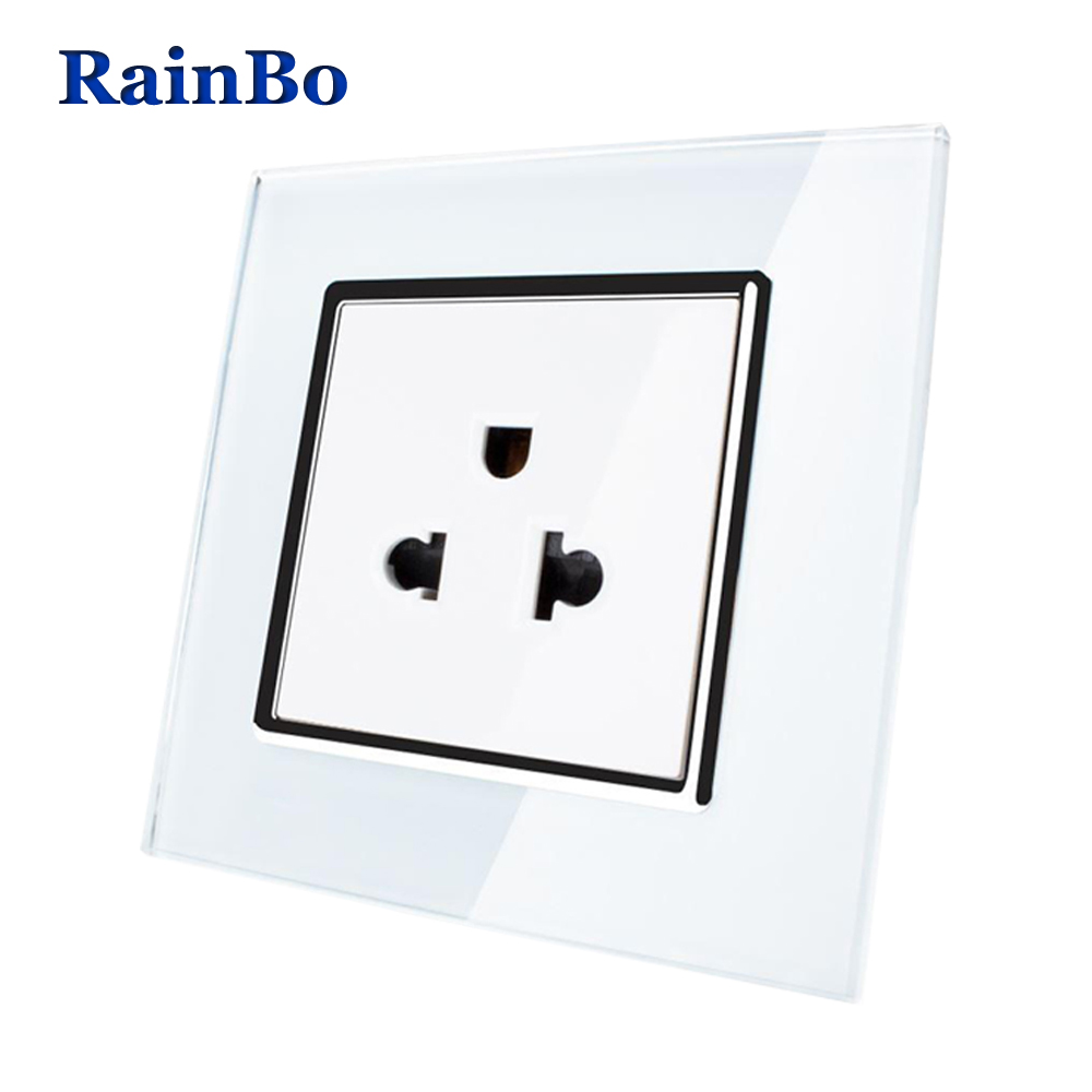 rainbo united states standard power socket crystal glass panel ac 110