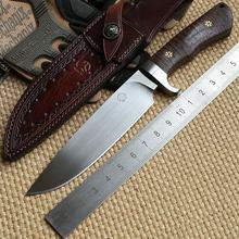 Bolte Croc D2 of DC53 blade G10 handvat Lederen schede fixed blade jacht grote mes survival EDC messen gereedsch