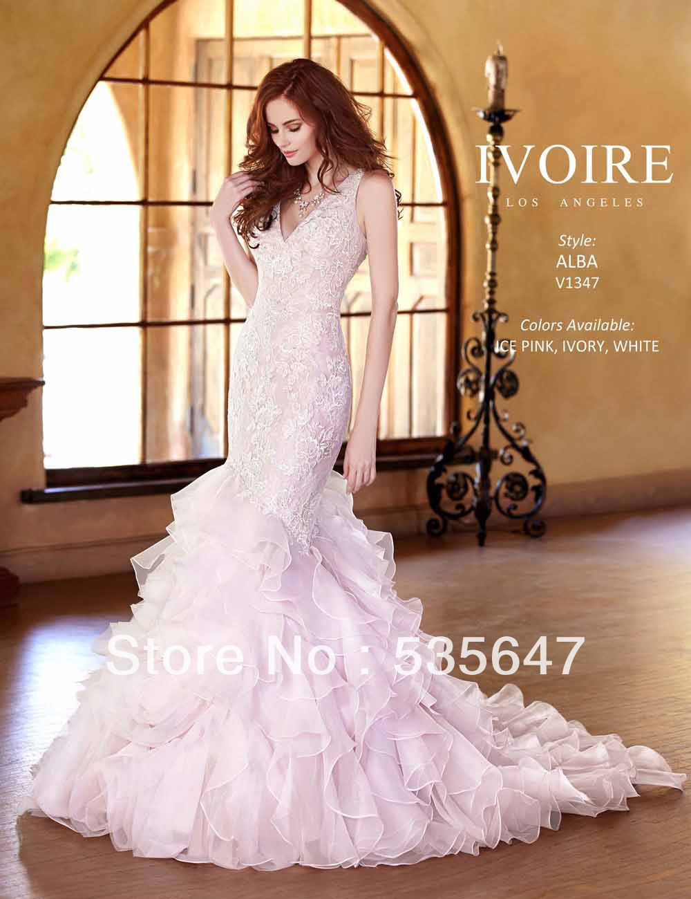 2014 Mermaid Wedding Dresses Color Accented V Neck Straps Backless Organza Raffles Court Train Pink Trumpet Bridal Gowns V1347 In From