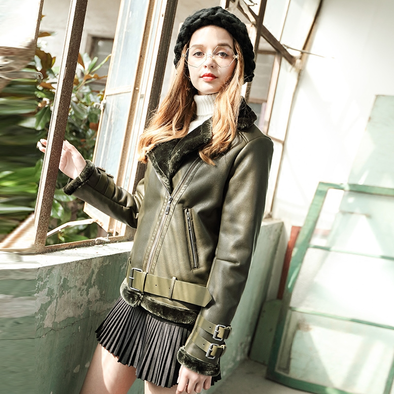 Green Leather Jacket Women Sheepskin Coat Winter Loose Motorcycle Thick Fur Womens Black Warm Biker Coats AS306111