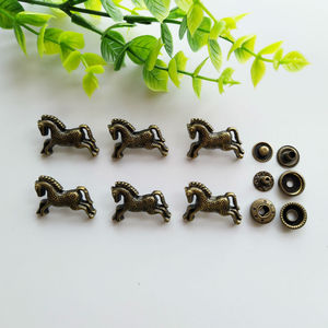 6sets Horse Zinc Alloy Snap Fastener Press Stud Sewing Leather Combined Button Craft For Clothes Garment DIY Decoration 28*20mm
