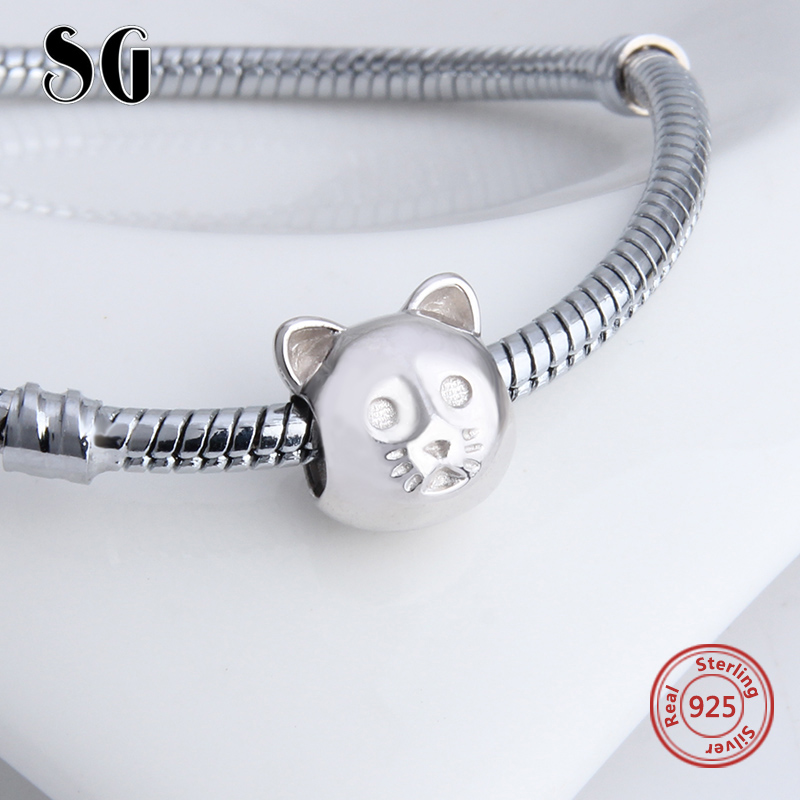 2017 New Style 925 Silver Original Animal Cat Charm Bead Fit Authentic pandora Bracelets pandora DIY Jewelry Woman Gifts in Beads from Jewelry Accessories