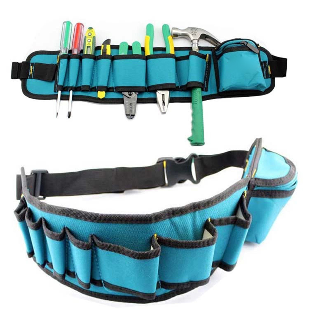 Carpenter Rig Hammer Waist Tool Bag Pockets Canvas Tool Bag Multi-Pockets Electrician Tool Holder Pouch Belt Bag Repair Pockets