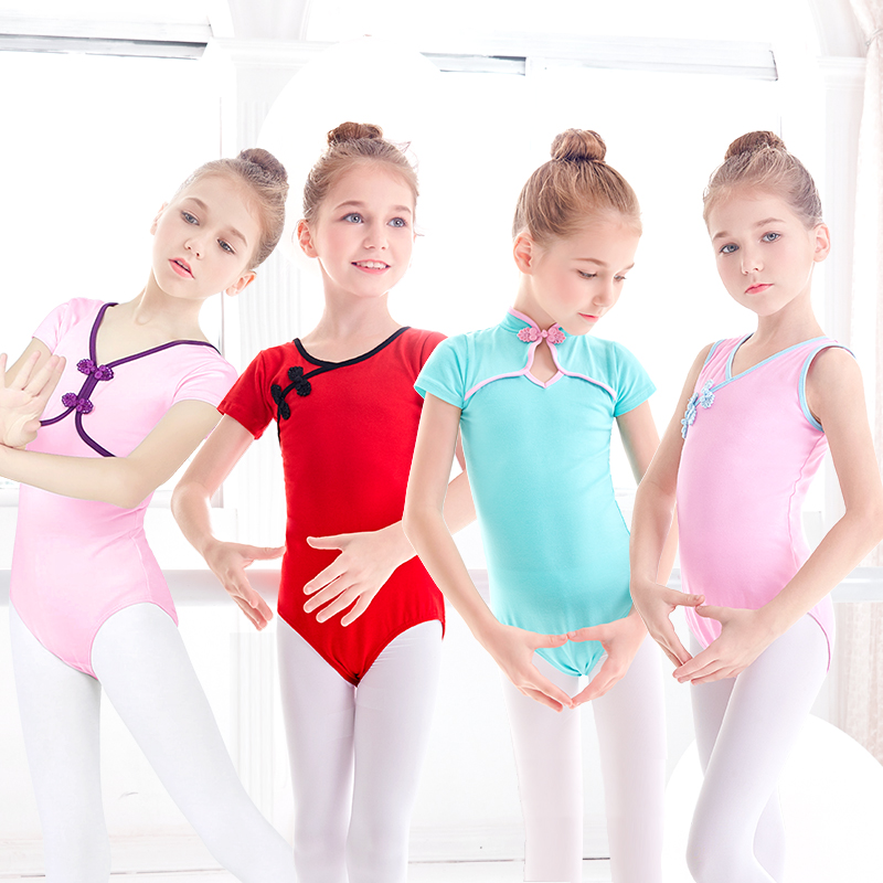 Toddler Girls Dance Leotards Chinese Style Ballet Dance Wear Bodysuit Red Gymnastic Swimsuit For Dance