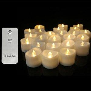 Image 1 - パックの 3 ウォームホワイトライトリモート candele 、黄色ちらつき velas perfumadas 、フレームレスちらつきキャンドル家の装飾