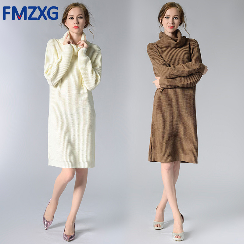 Elegant Turtleneck Long Knitted Sweater Dress Work Women Wool Slim Bodycon Dress Pullover Female Autumn Winter Warm Dress 2018