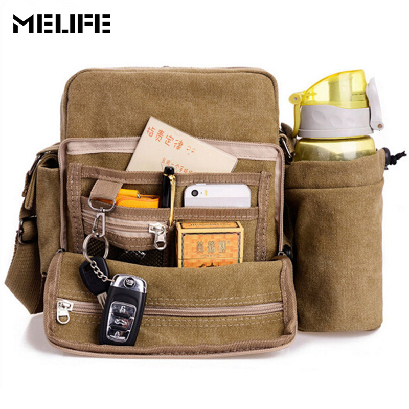 MELIFE Men's Canvas messenger bag Crossbody Bags Men Large Military Army Vintage Multifunction Travel handbags women shopping augur canvas leather crossbody bag men military army vintage messenger bags large shoulder bag travel bags pd0213