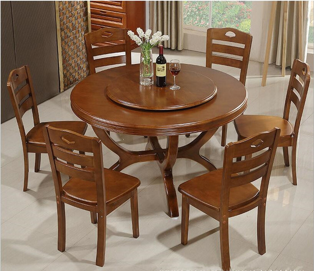 Circular Dining Room: Household Solid Wood Dining Tables And Chairs Combination