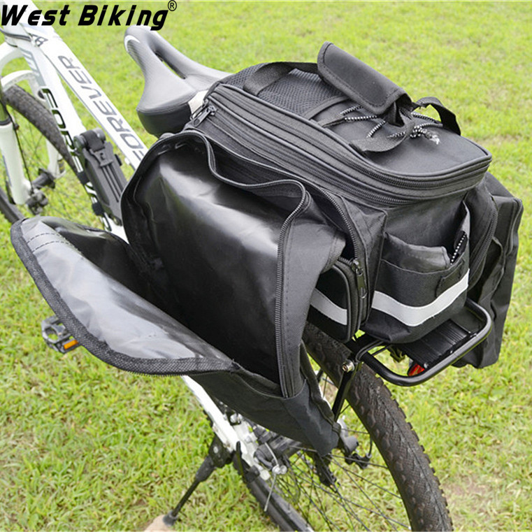 Cycling Bags with Back Shelf, Raincover Sets Super Strong 50Kg Load Bicycle Multi-purpose Bike Cycle Rear Rack+Bag+Raincover Set roswheel mtb bike bag 10l full waterproof bicycle saddle bag mountain bike rear seat bag cycling tail bag bicycle accessories