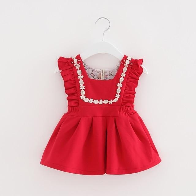 סיטונאי 5 יח'\חבילה שרוול עלים תינוק פעוט תינוקות בנות יום הולדת הטבלה שמלת נסיכת 0-2 Yrs אדום ורוד