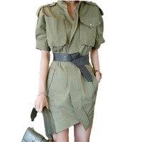 WSYORE Military Style Dress 2019 New Summer Korean Women Temperament Short sleeved Asymmetric Waist Slim Dress NS1238