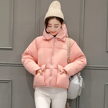 Winter female cotton padded jacket 2016 women short design padded parkas casual long sleeve hooded thickening