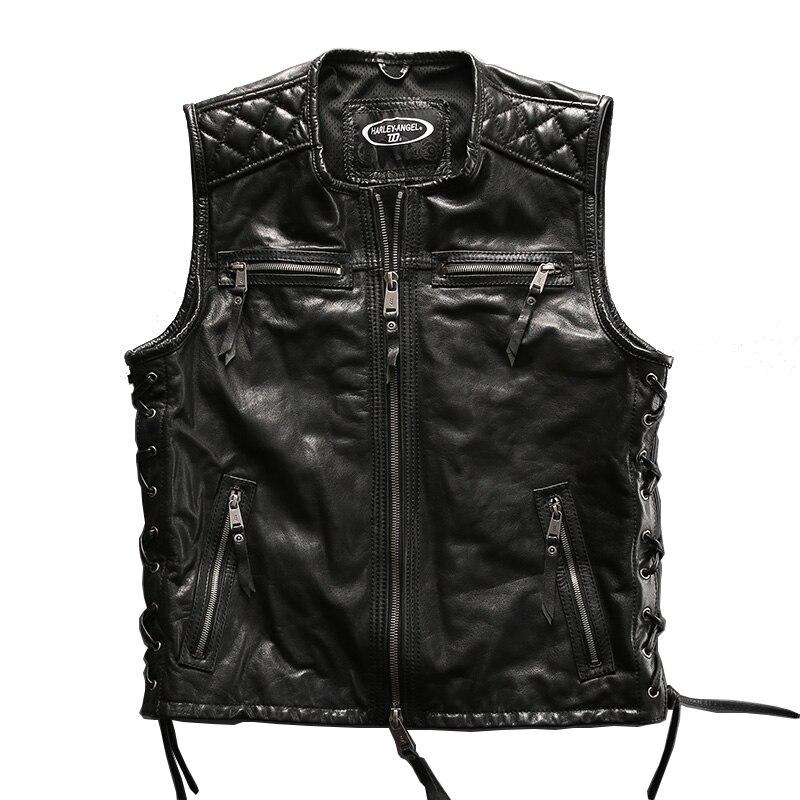 Big European size vest For super Motor rider Mens high quality cow leather vest genuine cowhide leather motorcycle rider vest