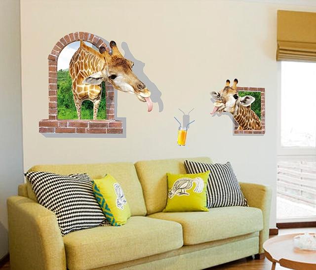 sweet home wallpaper designs. 3D Wallpaper Sweet Home Decoration Cute Animal Wall Sticker Giraffe Window  Drinking orange juice Kids Room