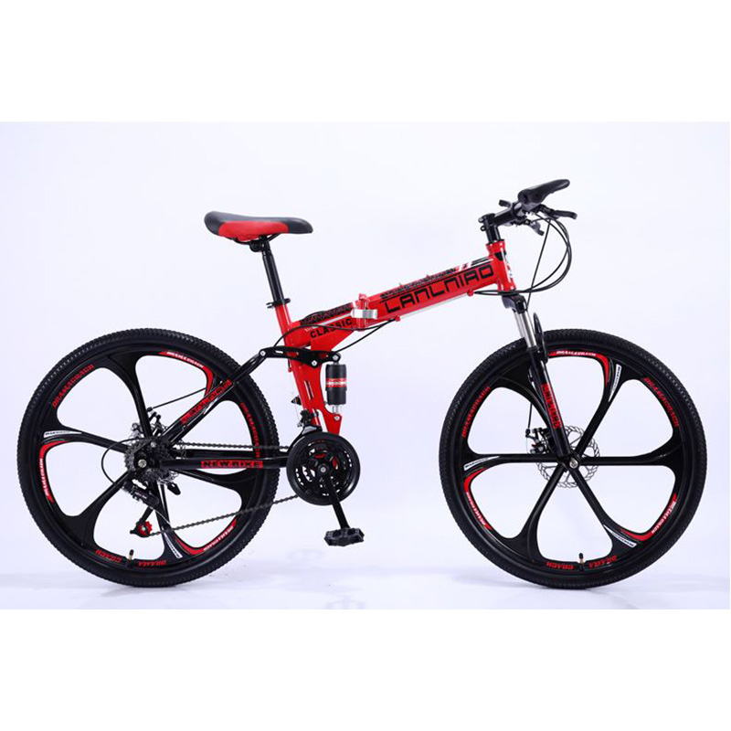 Folding Mountain Bike Six Knife Wheel 26 Inches 21 Speed Double Shock Absorber Integrated Wheel Off-road Mountain Bike