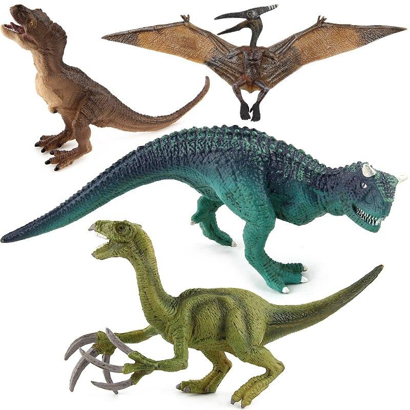 Jurassic Tyrannosaurus Pterosaur Carnotaurus Dinosaurs Models Plastic Therizinosaurus Animal Action Figures Collection Toys jurassic dinosaurs models plastic animal action figures toys carnotaurus stegosaurus triceratops collection gift e