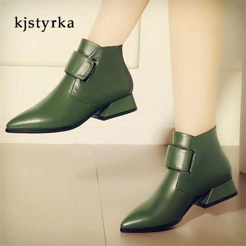 Kjstyrka botines mujer 2018 winter autumn fashion pointed-toe ankle women