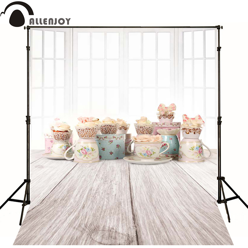 Allenjoy Photographic background Wood windows candy cup newborn vinyl backdrops  lovely princess photo for studio baby shower