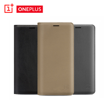 Original Official Oneplus 3 3T PU Leather Flip Case Smart Leather Cover with Smart Sleep Wake Up Card Slot for One Plus Phonebag