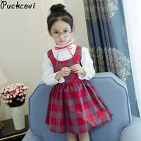 Girls Dress Kids Clothes Vestidos Autumn Dress Girl Roupas Infantis Menina Cotton Plaid Faux Twin Set