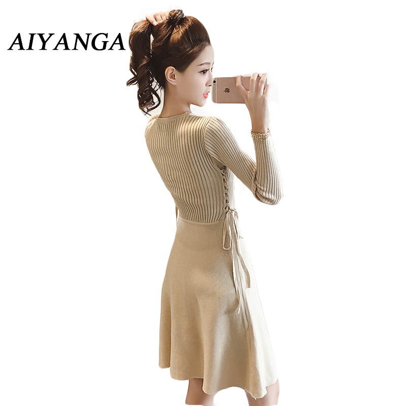 Knitting Long Sleeve Dress 2017 Autumn New Women's clothing Fashion Slim Lace up Elasticity knitted Sweater A-line Dresses 2016 women s clothing fashion in europe and the atmosphere bohemia elasticity knitted cultivate one s morality dress