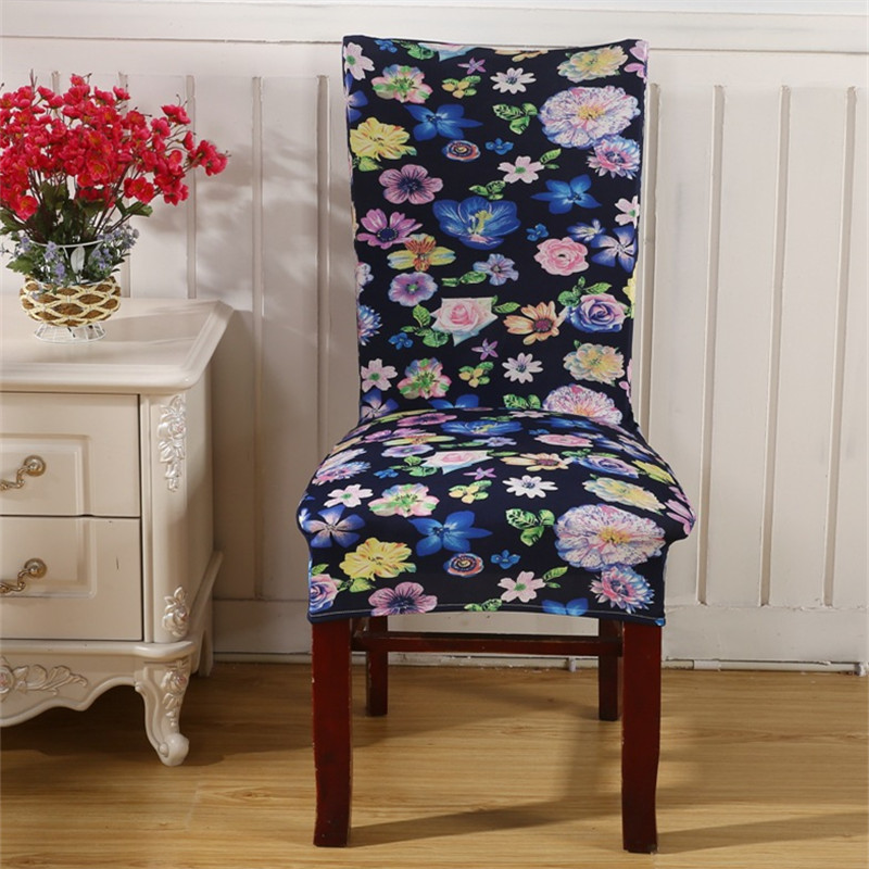 Black Flower Chair Covers Cheap Jacquard Stretch For Dining Room Decoration Short Half Machine Washable V43