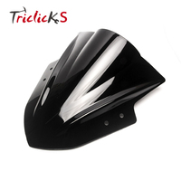 Triclicks Motorcycle Windshield WindScreen ABS Plastic Black Triangle Wind Shield Windscreens For Kawasaki Ninja 300 EX300