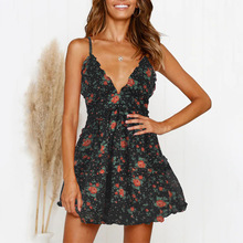 Kimuise v neck sexy summer dress a line spaghetti strap frill floral prin boho sundress 2019 vestidos ukrine beach dress women floral boho dress a line v neck sexy spaghetti strap mini dress vestidos de fiesta ruffle hem floral dress sukienki vestidos