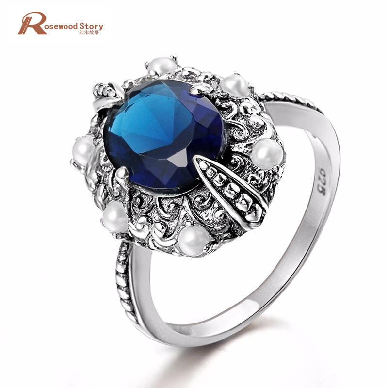 Vintage 925 Real Sterling Silver Ring Female Created Sapphire Stone For Women Fashion Pearl Ring Finger Charm Handmade JewelryVintage 925 Real Sterling Silver Ring Female Created Sapphire Stone For Women Fashion Pearl Ring Finger Charm Handmade Jewelry