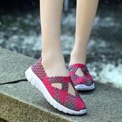 النساء حجم كبير 35-42 المنسوجة أحذية رياضية مباراة الشقق أحذية التنفس الجوف الصنادل المتسكعون الانزلاق على حذاء رياضة الجري قارب حذاء