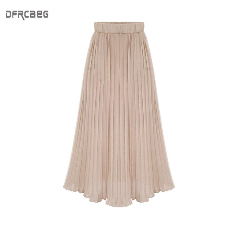 Summer 2019 New Arrivals Euro Style Midi Pleated Skirt For Women Black White Beige Pink Chiffon Skirts Womens Elastic Waist Saia