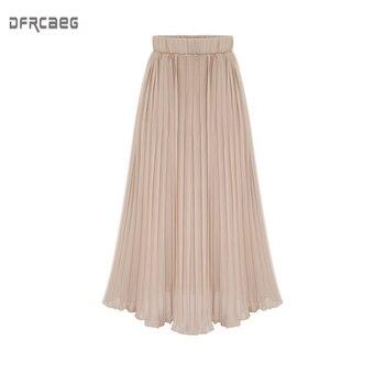 50f279544 Usualsí una línea de Falda Midi plisada de mujer falda de cintura alta  falda de estampado de ...