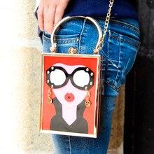 Marke Luxus Acryl Abendtasche Frauen Lustige Nette Handtaschen Gläser Mädchen Kette Tageskupplung Vintage Red Mini Party Geldbörse z912