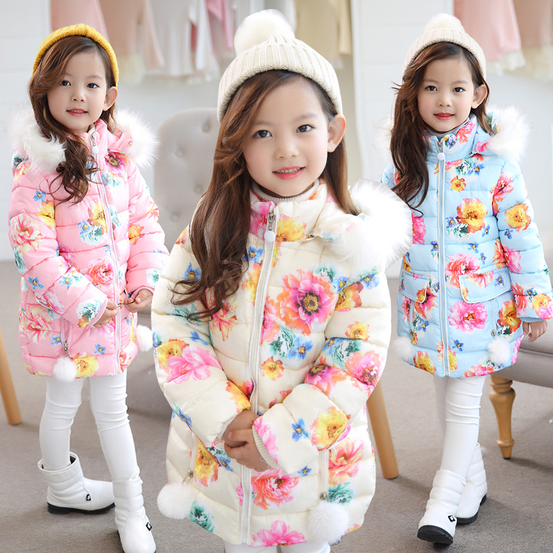 Retail 1Pcs Brand New Design Girls Beautiful Floral Winter Fur Hooded Cotton-padded Jacket For School Girls Cute Outdoor Coat retail new arrival100