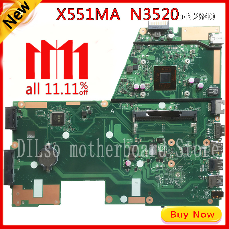 KEFU X551MA For ASUS X551MA Laptop Motherboard N3520U X551MA motherboard 90NB0480-R00100 REV2.0 Test free shipping the laptop motherboard for asus x551ma rev 2 0 with n2830u full test and work perfect