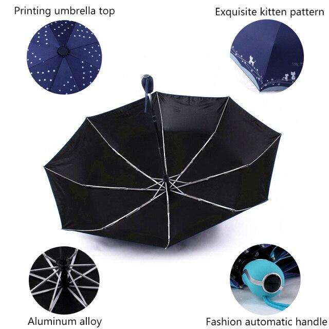 Fiori e Gatto Ombrello Donne Pioggia Antivento Ultralight Sole Pioggia Automatico Ombrelli Pieghevoli Della Signora Ombrello parasole 3