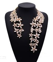2015 Spring Summer New Hot Fashion Jewelry Chunky Gem Crystal Flower Choker Necklace Single Shoulder Statement