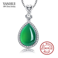 YANHUI New Arrival Luxury Water Drop Natural Agate Jade Pendant Necklace Women 925 Silver Chain Necklace