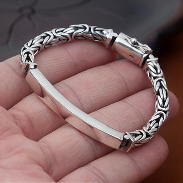 Solide 925 argent Dia 5mm épaisseur byzantin chaîne Bracelet hommes femmes Vintage Simple Style 100% réel 925 bijoux en argent Sterling